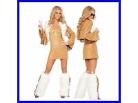 60s/70s HIPPY CHICK PEACE FANCY DRESS OUTFIT SIZE 8/10 GREAT FOR CHRISTMAS OR NEW YEARS PARTY