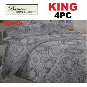 NEW BAMBOO 4PC BED SHEET SET KING 1122K 229901414 HOME LUXURY 9500 THREAD COUNTS WRINKLE FREE BEDDING BEDROOM 100% PO...