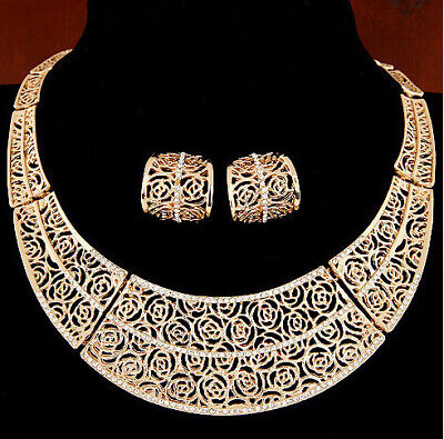 Jewellery - Gold Roses Collar Statement Necklace Earrings Set Costume Jewellery