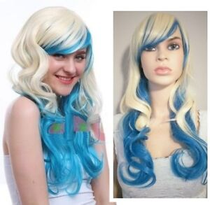 BRAND NEW: Deluxe Curly Gradient Blonde Blue Wig