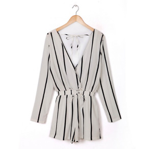 Stripped Romper with Tie Back.