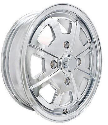 Porsche 914 Fuchs Wheel All CHROME,8 Spoke, OEM Quality,W/Valve Stem & Cap