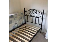 Black stylish metal single bed with mattress