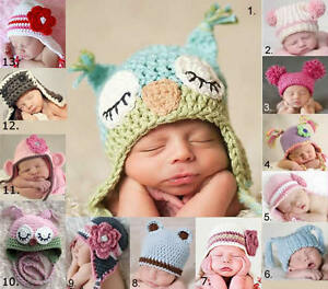baby-beanie-girls-BOYS-kids-0-2-yrs-CROCHET-ears-owl-PHOTO-prop