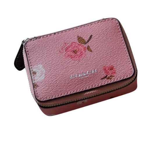 Coach Sport Calf Leather Zippered Pill Box ~ Rose Limited Ed