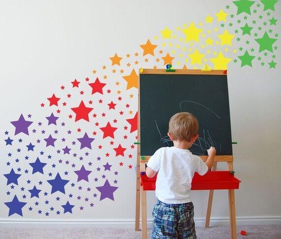 Home Decoration - Rainbow Colorful Stars Wall art Decal Stickers vinyl Girl Room Kids Baby Nursery