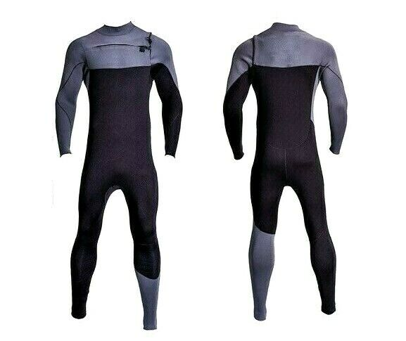 New Black Chest Zip Wetsuit 3mm Neoprene Full Body Front Zip