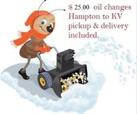 $25.00 snowblower oil changes - pickup & delivery included