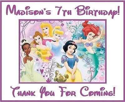 (18)Personalized Disney Princess Party Stickers,Birthday,favors labels,supplies Disney Princess Favors