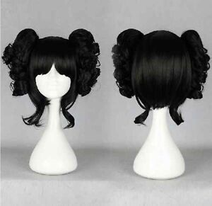 Lolita-Black-Japanese-Harajuku-Style-Curly-Cosplay-Wig-With-Two-Clip-On-Ponytail