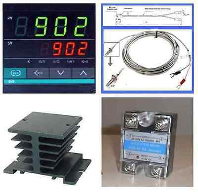 Pid Temperature Controller K Thermocouple Probe Sensor Relay Ssr 40a Heat Sink