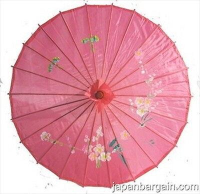 "Chinese Japanese Oriental Umbrella Parasol 30"" Transparent Hot Pink 161-11 AU"