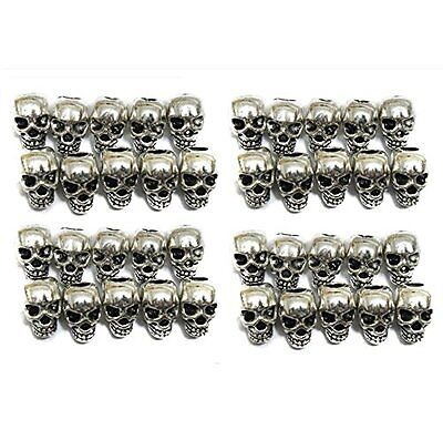 QTMY 40 PCS 4mm Macroporous Skull Spacer Beads for Jewelry Making Supplies in