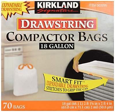 Kirkland Compactor Bags, 18 Gallon, Smart Fit Gripping Draws