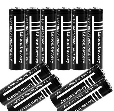 10PCS 3.7V 6000mAh 18650 Li-ion Rechargeable Battery for Flashlight GU