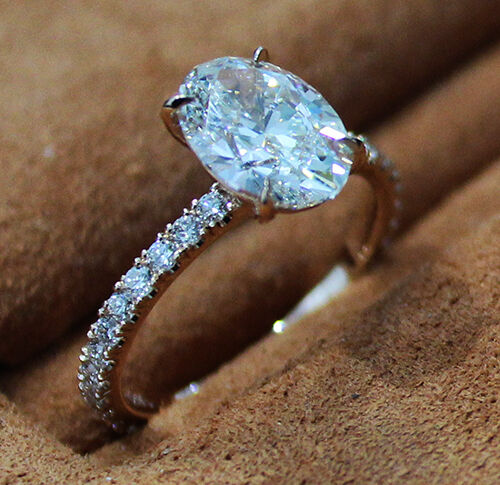1.00 Ct. Natural Oval Cut Pave Diamond Engagement Ring - GIA Certified 2