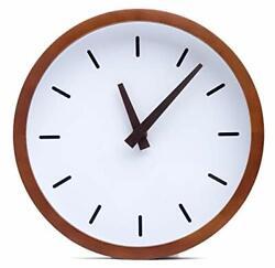 Driini Modern Wood Analog Wall Clock (12) - Battery Operated with Silent Sweep