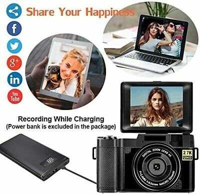 Digital Camera Vlogging Camera 2.7K 24MP Full HD Camera 3.0Inch 180Deg Rotation