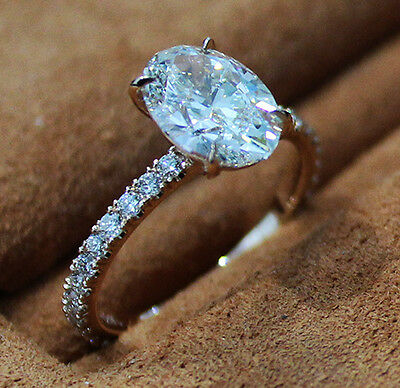 1.80 Ct. Natural Oval Cut Pave Diamond Engagement Ring - GIA Certified 2