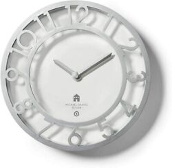 Michael Graves 13.1 Decorative Wall Clock Silver For Target *New*