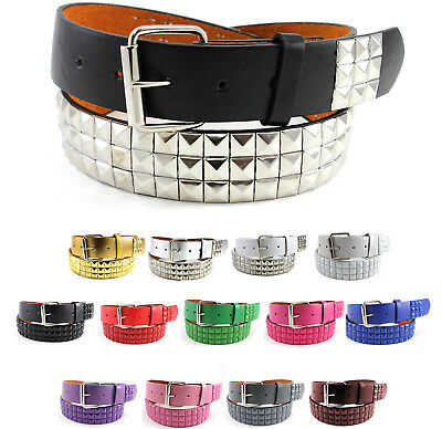Metal Studded Faux Leather Belt Plain Pyramid Punk Rock Emo Solid Mens - Pyramid Stud Belt