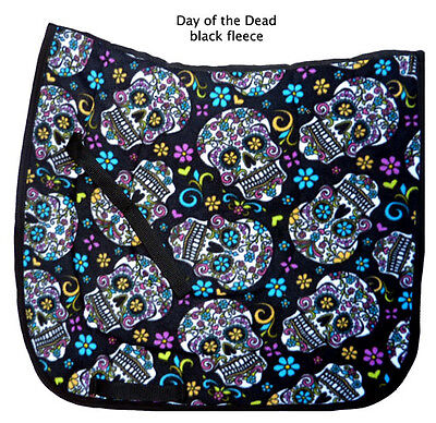 """FUN black  """"DAY OF THE DEAD"""" skull roses print DRESSAGE SADDLE PAD"""
