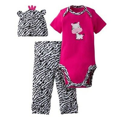 - Gerber 3-Piece Zebra Onesie Cap & Pants Size 3-6M; BABY CLOTHES SHOWER GIFT
