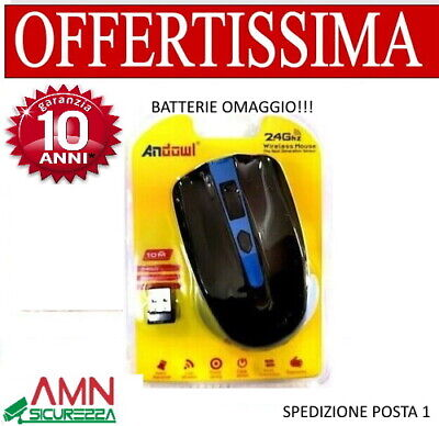MOUSE OTTICO SENZA FILI WIRELESS USB PER NOTEBOOK PC COMPUTER 1600 DPI 2,4G BATT