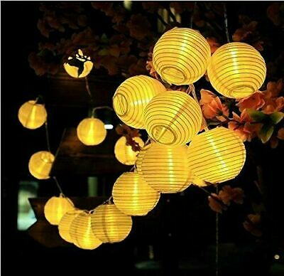 Solar Powered LED String Fairy Lights Chinese Paper Lantern Outdoor Garden Party