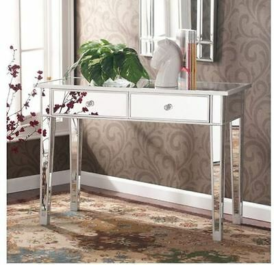 Mirrored Console Table Glam Vanity Mirror Silver Accent Decor Furniture 2 Drawer