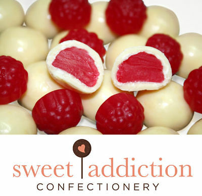 500g Premium White Chocolate Covered Red Raspberries - Bulk Lolly Candy - Chocolate Candy Buffet