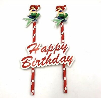 NEW Disney Ariel The Little Mermaid Themed Party Happy Birthday Cake Topper - The Little Mermaid Party Theme