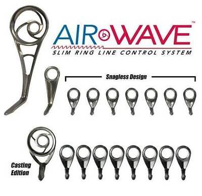 AMERICAN TACKLE AIRWAVE CASTING GUIDE SET - 9 GUIDES - BLACK CHROME- NEW!!  -