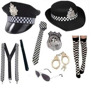 NEW POLICEMAN WPC POLICE WOMAN FANCY DRESS COP HANDCUFFS BATON HAT TIE