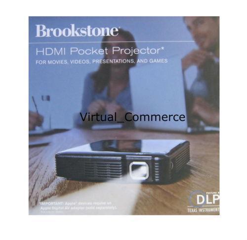Brookstone hdmi pocket projector ebay for Brookstone pocket projector micro
