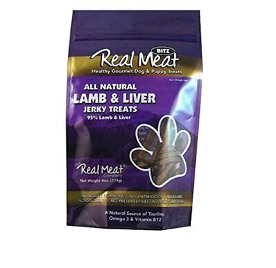 THE REAL MEAT COMPANY 828416 Dog Bitz 95-Percent Lamb/Liver Jerky Treat, 4-Ounce