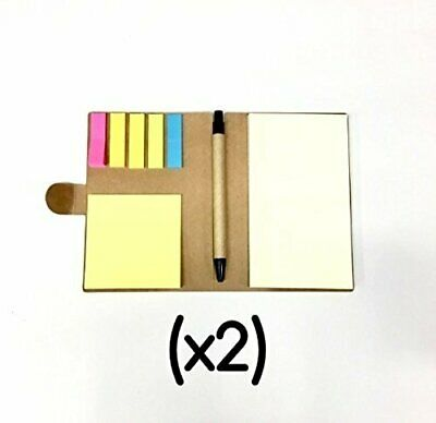 *NEW* (2) Mini Notepad Pen Set - Sticky Notes & Reminder Tabs, Notebook Journal Notepad Pen Set