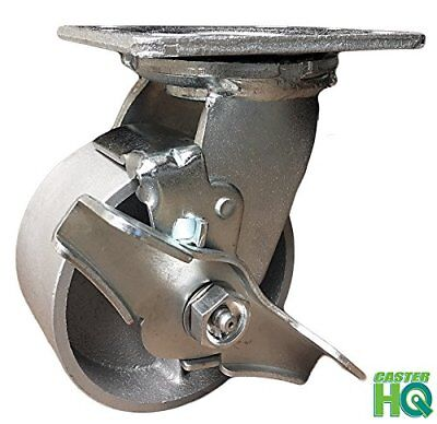 Casterhq- 4 Heavy Duty Swivel Caster With Brake - 4 Semi Steel Cast Iron Wheel