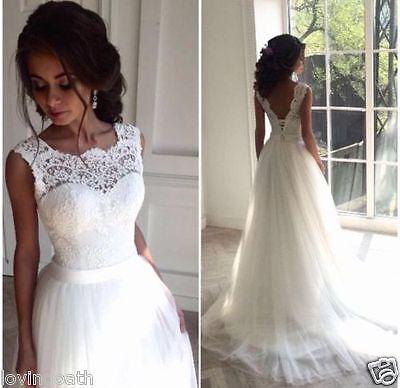 Neu Weiß Elfenbein Spitze Brautkleider Hochzeitskleid Ballkleid Gr 32-34-36-40++