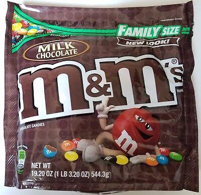 NEW Sealed Milk Chocolate M&M's Family Size 19.20 oz Bag FREE WORLDWIDE SHIPPING