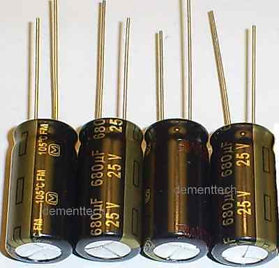 4x Panasonic FM 680uF 25v Low-ESR radial capacitor capacitors 105C 10mm 10x20