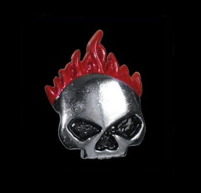 PEWTER SKULL WITH FLAMES VEST JACKET PIN * MADE IN USA * FREE USA SHIP BIKER PIN