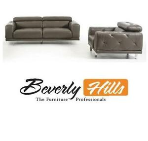 NEW LOVESEAT  CHAIR IN GREY 170824045 LEATHER BEVERLY HILLS FURNITURE LIVING ROOM SET