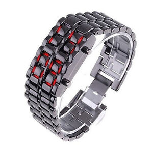 Womens-New-Volcanic-Lava-Iron-Samurai-Metal-Faceless-Bracelet-Red-LED-Watch-0T2