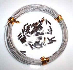10 metres, 40lb Nylon Coated Wire & 50 Crimps