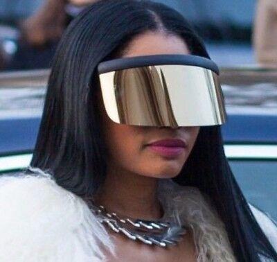 Futuristic Oversized XXL Shield Visor Sunglasses Flat Top Mirrored Single (Flat Lens Mirrored Sunglasses)