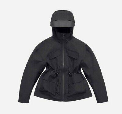 H&M X Alexander Wang Scuba Waterproof Coat Jacket Black Sz 40 Hooded Drawstring