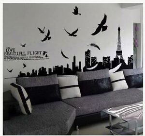 Diy paris city eiffel tower removable wall stickers home for Autocollant mural