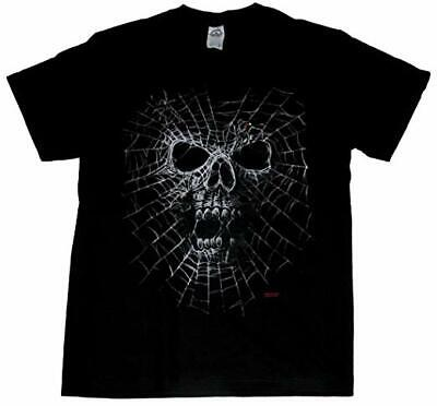 Mens Unisex Skull Black Widow Spider Web Scary Halloween Goth Adult T Shirt (Adult Black Widow)