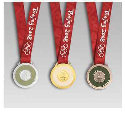 2008 Beijing Olympic Medal Set (Gold/Silver/Bronze) Silk Ribbons & Display Stand
